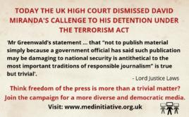 UK high court dismisses David Miranda's legal challenge to Heathrow detention