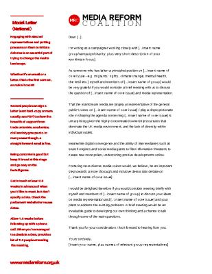 Model Letter – national