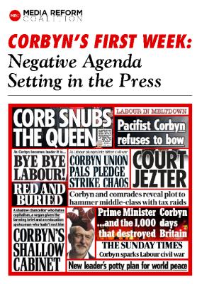 Corbyn's First Week – Negative Agenda Setting in the Press (2015)