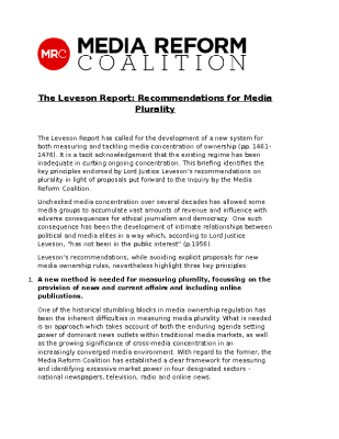 Media Reform Coalition – The Leveson Report – Recommendations for Media Plurality (2012)