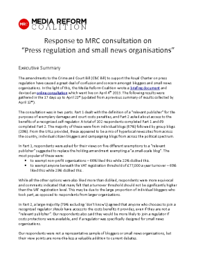 "Response to MRC Consultation on ""Press Regulation and Small News Organisations"" (2013)"