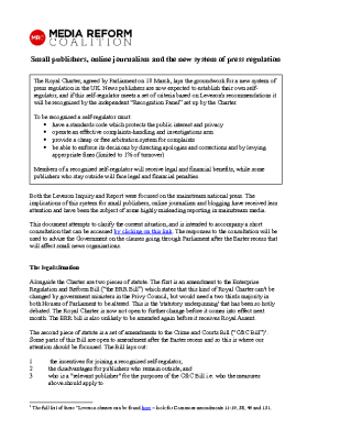 Small Publishers Online Journalism and the New System of Press Regulation (2013)