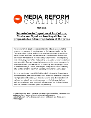 Submission to Department for Culture Media and Sport on two Royal Charter Proposals for Future Regulation of the Press (2013)