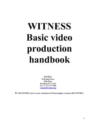 WITNESS Basic Video Production Handbook (2004)