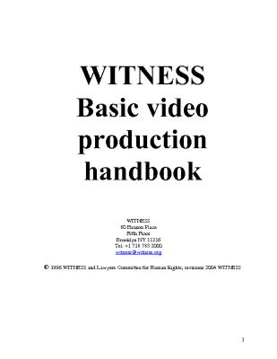 WITNESS Basic Video Production Handbook (2004)