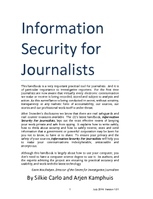 Information Security for Journalists Handbook (2014)