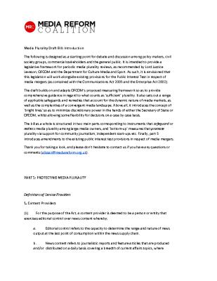 Media Plurality Draft Bill (2015)