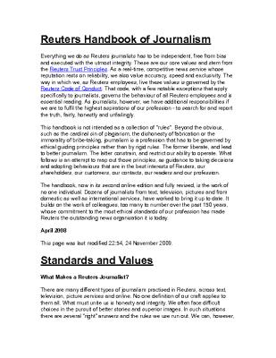 Reuters Handbook of Journalism (2012)