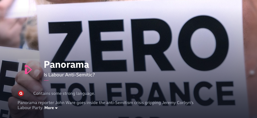 BBC Panorama on anti-semitism: a catalogue of reporting